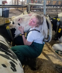 Katie hugging a cow in a barn stall