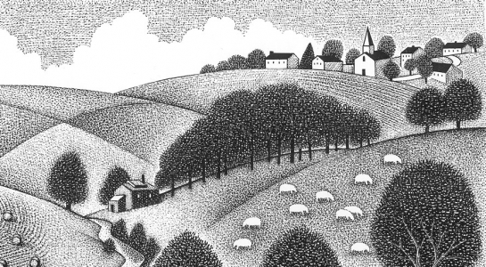black and white image of village, grazing animals, stream