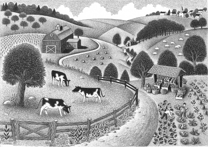 image description: a black and white illustration of rolling hills, villages, farms, grazing animals