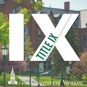 Trees blooming in front of brownstone building with Title IX logo.