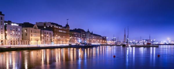 Water reflection at dusk in Helsinki, Finland