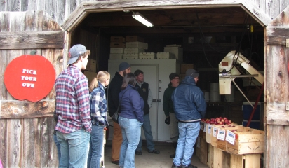 Students learn about processing cider