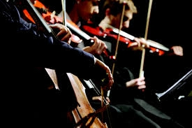 Close up of the orchestra string section