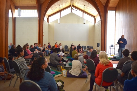 Lama Rod Owens leads a workshop in the Gathering Hall