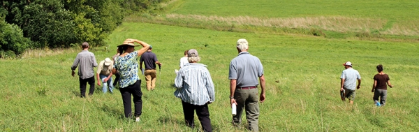 group on a field walk