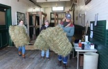 Students moving hay