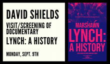 "poster for David Shields' Documentary entitled ""Lynch: A History"""