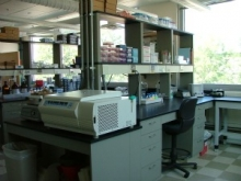 Lab bench with equipment
