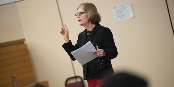 Rachel Johnson giving a lecture