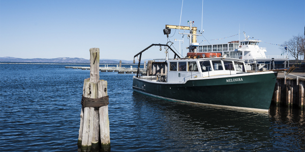 Research vessel Melosira at dock on Lake Champlain