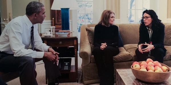 Ariel Wengroff '10, with Gloria Steinam, President Barack Obama