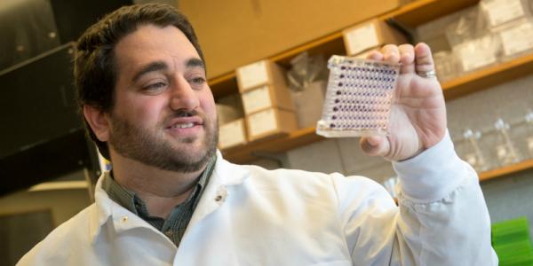 Professor Eyal Amiel working in his laboratory.
