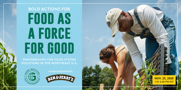"Promotional graphic for the Gund Institute and Ben and Jerry's joint event ""Partnerships for Food System Solutions in the Northeast"""