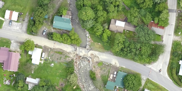 Aerial view of flood damage in Plainfield, Vermont