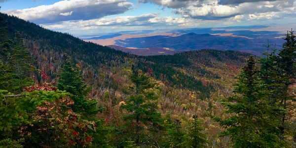 Landscape view from Vermont mountain top