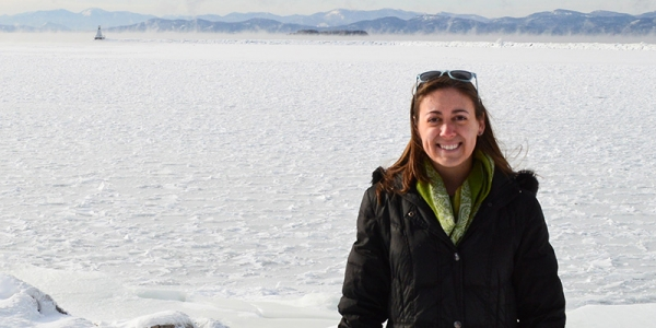 Hannah Lachance and Lake Champlain in winter