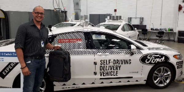 Graduate student intern with Ford Motors self-driving vehicle