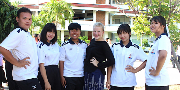 Meg Ziegler with Thai students