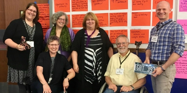 Top row left from right: Sarah Launderville (Vermont Center for Independent Living), Kristen Murphy (Vermont Developmental Disabilities Council), Karen Topper (Green Mountain Self Advocates), Jesse Suter (Center on Disability and Community Inclusion). Bot