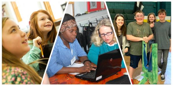 Tarrant Institute photo collage featuring work in Vermont schools