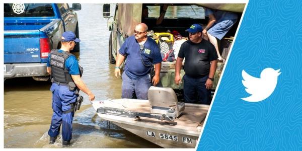 Emergency responders in a Louisiana flood.