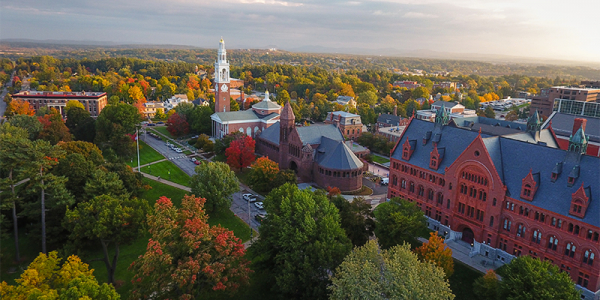 Aerial image of the University of Vermont in fall