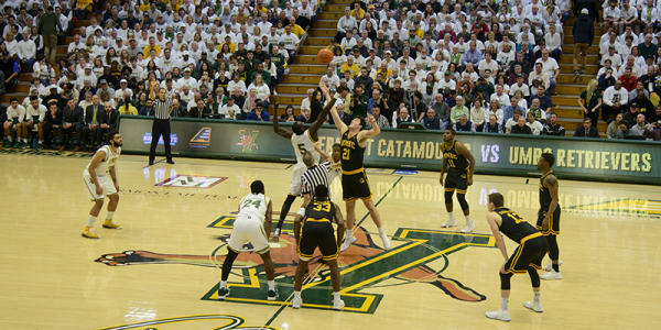 Tip off at the UVM versus UMBC men's basketball game.