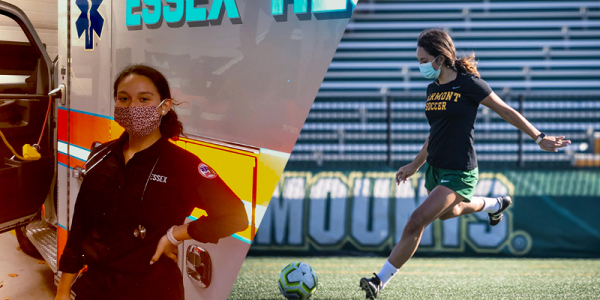 A collage showing Alyssa Oviedo, a health sciences junior, standing by an ambulance and kicking a ball in a UVM soccer game.