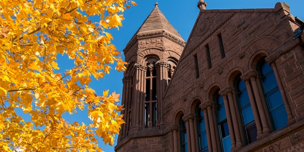 A tree with yellow leaves stands in front of UVM's Billings Library