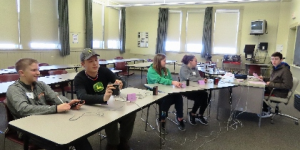 Five 4-H students getting ready to participate in quiz bowl