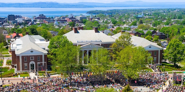 Waterman and the UVM Green during commencement