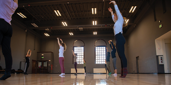 Dance class in the newly renovated dance studio in Cohen Hall.