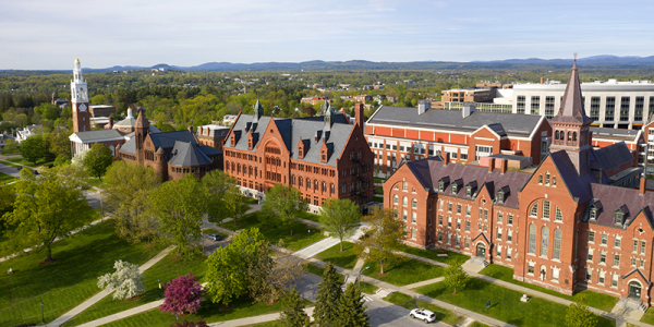 aerial view of University row, Williams Hall, Old mill, Ira Allen Chapel, and Discovery building and hospital behind