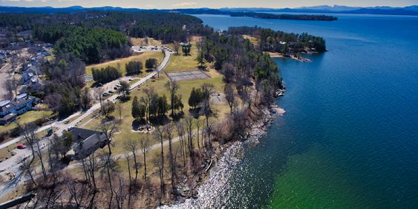 Drone shot of Oakledge park, bike path, waterfront