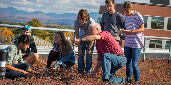 Students on UVM Aiken Center's Green Roof