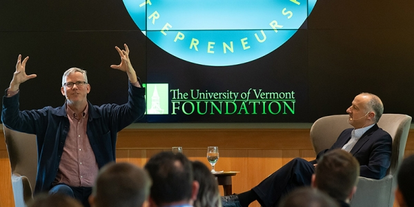 Alumnus Brian Halligan and Provost David Rosowsky sit on stage