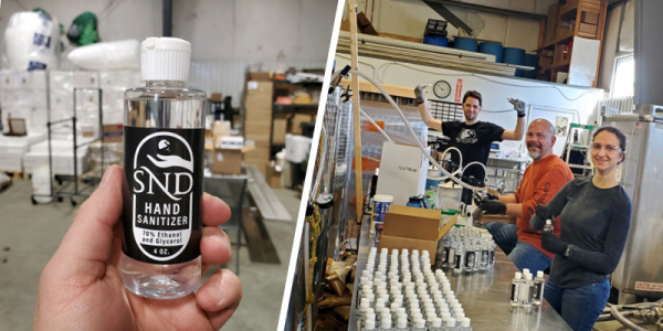 Bottle of SND hand sanitizer and three staff members bottling the solution.