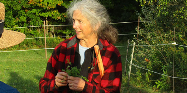 image description: woman in red plaid jacket in a green field, talking with a group
