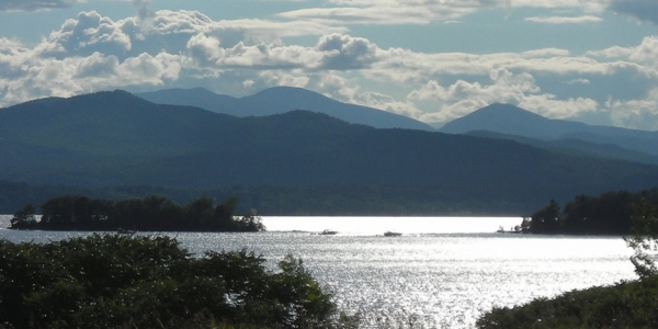 Lake Champlain looking west to the Adirondack Mountains