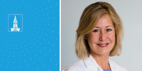 Dr. Lynn Black portrait with UVM tower logo in a blue field