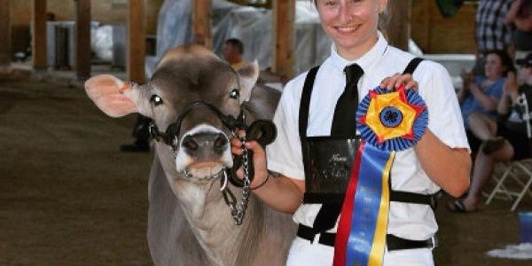 Adele Biasini with cow