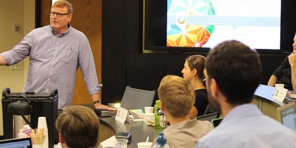 UVM Business Professor Stuart Hart in his classroom