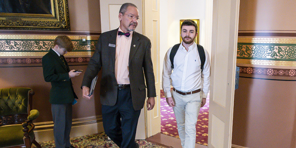 Legislator and student intern in Vermont State House.
