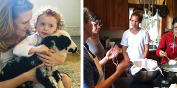 Right photo: woman and child holding a calf. Left photo: woman in the kitchen explaining cooking techniques