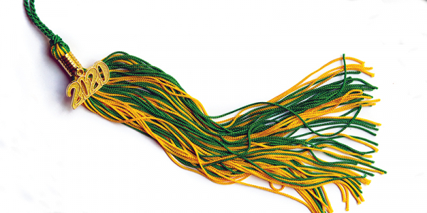 green and gold tassel with the year 2020 attached.