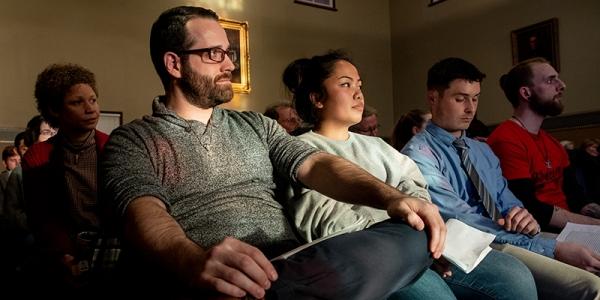 Students sit in John Dewey Lounge, University of Vermont