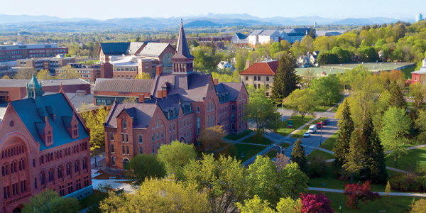 Overhead view of university row with Williams and Old Mill