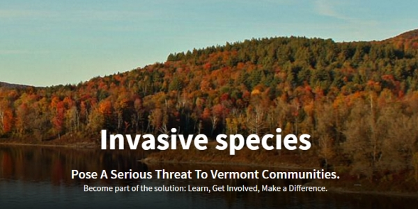 "image of lake in front of fall foliage on hillside; text on photo reads ""invasive species pose a threat to vermont communities -- become part of the solution: learn, get involved, make a difference"""
