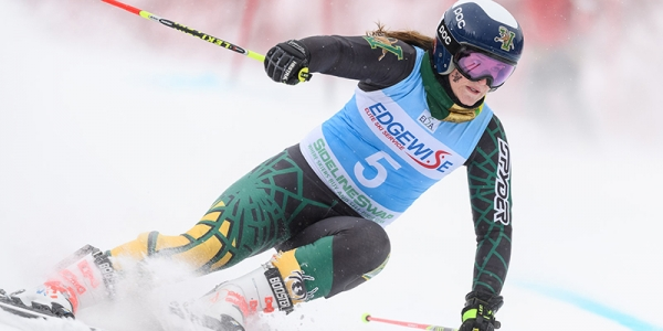 Paula Moltzan racing down a mountain