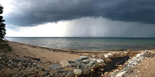 A storm rolls over Lake Superior